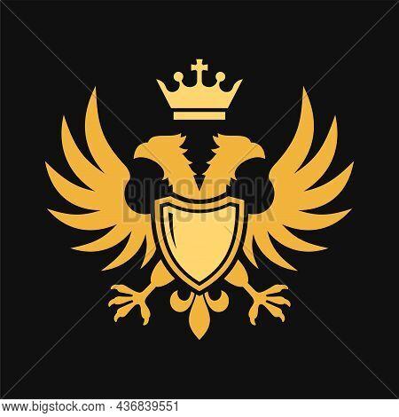 Double Headed Eagle Heraldic Icon On Black Background. Vector