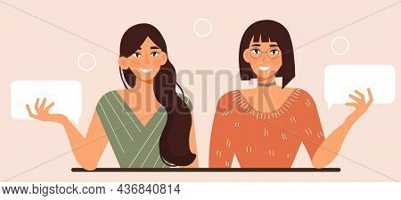 Two Girls Communicate. Dialogue, Communication Of Friends. Women Discussing News. Characters Standin