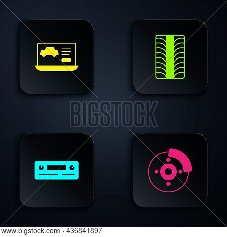 Set Car Brake Disk With Caliper, Diagnostics Condition Of Car, Audio And Tire Wheel. Black Square Bu