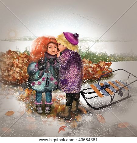 children in the autumn walk