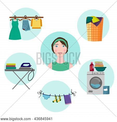 The Girl Thinks About Housework. Washing Dirty Clothes Is A Daily Routine. Vector Illustration With