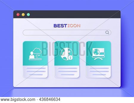 Set World News, Weather Forecast And Breaking Icon. Vector
