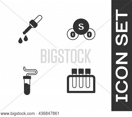 Set Test Tube, Pipette, And Sulfur Dioxide So2 Icon. Vector