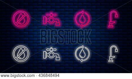 Set Line Water Tap, Recycle Clean Aqua, Drop Forbidden And . Glowing Neon Icon On Brick Wall. Vector