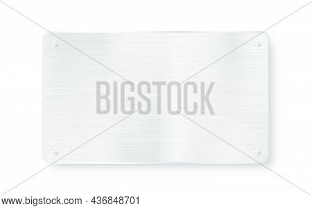 Metal Plaque, Banner And Tag. Metal Plate And Plaque With Realistic Steel Texture And Scratches. Met