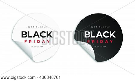 Black Friday Stickers And Tags. Black And White Stickers With Text On White Background. Black Friday