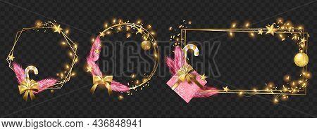Christmas Winter Gold Frame Set, Vector Holiday Winter X-mas Design Border, Light Garland, Star, Con