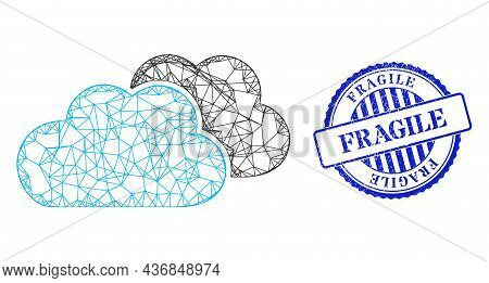 Vector Network Clouds Carcass, And Fragile Blue Rosette Unclean Seal. Hatched Carcass Network Symbol
