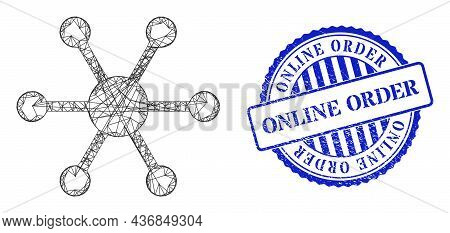 Vector Net Central Node Frame, And Online Order Blue Rosette Scratched Seal. Linear Carcass Net Imag