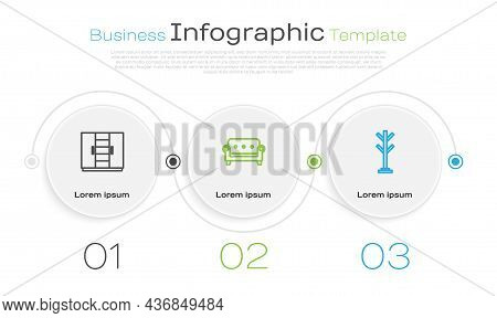 Set Line Wardrobe, Sofa And Coat Stand. Business Infographic Template. Vector