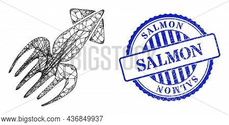 Vector Crossing Mesh Calmar Carcass, And Salmon Blue Rosette Dirty Stamp Seal. Linear Frame Network