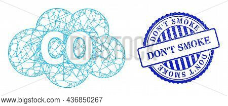 Vector Crossing Mesh Carbon Monoxide Frame, And Dont Smoke Blue Rosette Unclean Seal Print. Linear F