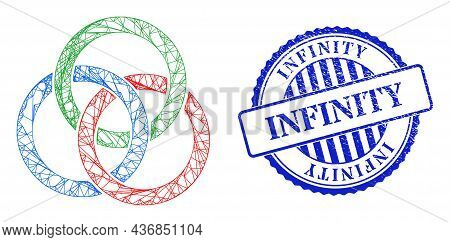 Vector Net Mesh Circle Links Knot Wireframe, And Infinity Blue Rosette Textured Stamp Seal. Crossed