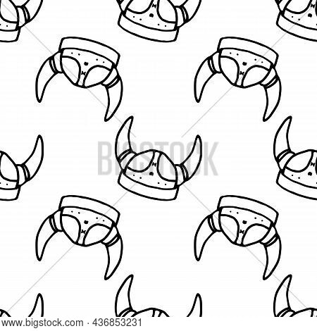A Pattern Of A Viking Helmet With Horns. Seamless Pattern Of Vintage Scandinavian Doodle Style Helme