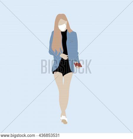 Vector Illustration Of Kpop Street Fashion. Street Idols Of Koreans. The Idol Of Women's Fashion K P