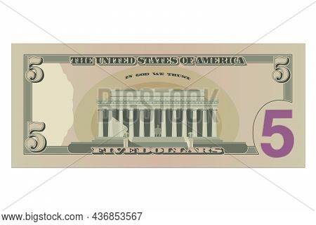 Five Dollar Bill, 5 Us Dollars Banknote, Reverse Side. Simplified Vector Illustration Of Usd Isolate