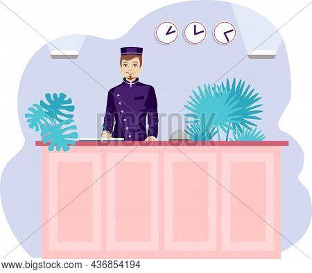 A Young Male Receptionist Stands At The Front Desk. Hotel Lobby. Check-in Hotel. Modern Vector Illus