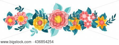 Decorative Element With Pretty Flowers. Beautiful Decorative Natural Buds And Leaves