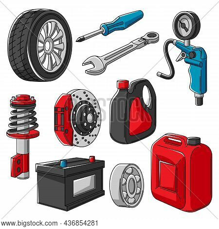 Set Of Car Service Objects Illustration. Auto Center Repair And Transport Items.
