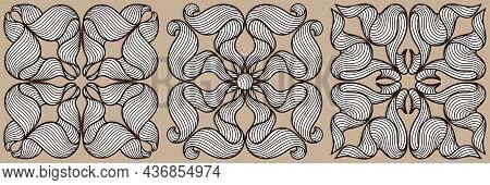 Ceramic Tile Pattern With Wave Line Curls. Mediterranean Porcelain Pottery.
