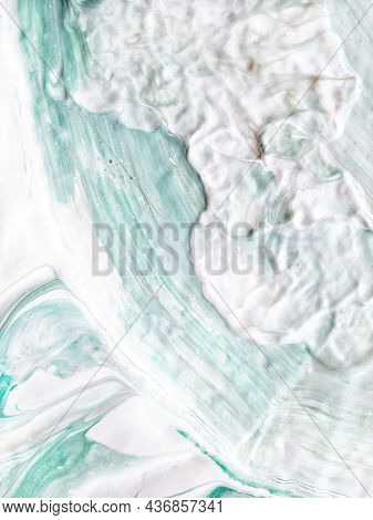 Liquid Acrylic, Oil Paint On Canvas. Mix Of White, Green, Beige, Mint. Fluid Paintings. Resin Art. S