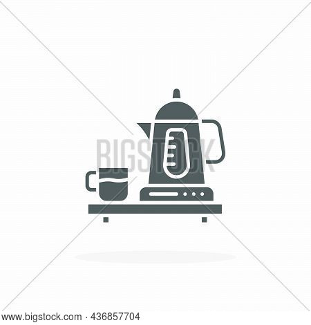 Kettle Electric Icon. Solid Black Style. Vector Illustration. Enjoy This Icon For Your Project.