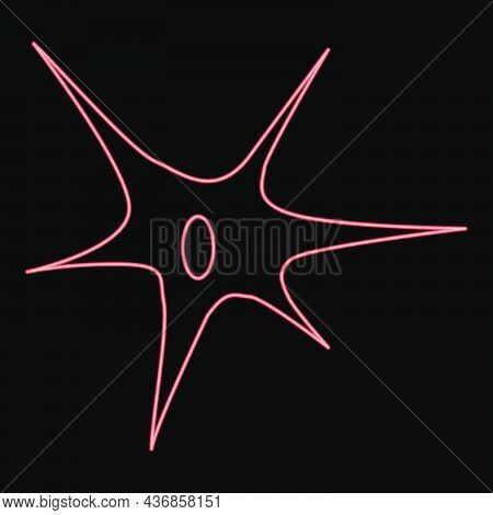 Neon Nerve Cell Icon Black Color In Circle Outline Vector Illustration Red Color Vector Illustration