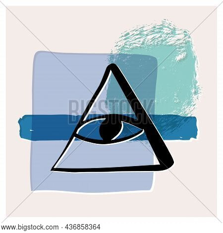 All-seeing Eye Esoteric Poster, Banner. Shapes, Textures, Line Art Of A Freemasons Eye, Symbol Of Hi