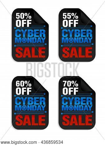 Set Of Cyber Monday Power Sale Stickers. Cyber Monday Sale 50%, 55%, 60%, 70% Off. Vector Illustrati