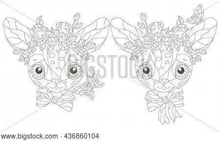 A Set Of Illustrations In The Style Of Stained Glass With Cute Contour Cartoon Reindeer, Outline Ani