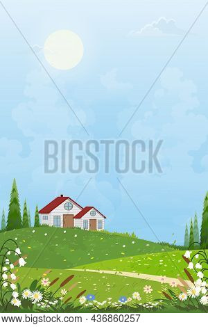 Spring Village With A Farmhouse And Bright Light On The Sunny Day,vector Summertime Landscape Of Far