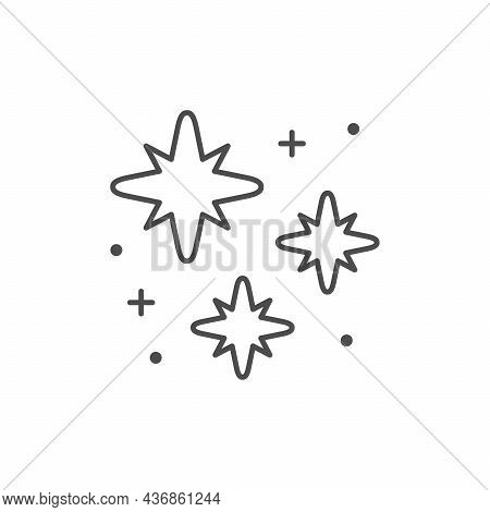 Twinkle And Sparkle Line Outline Icon Isolated On White