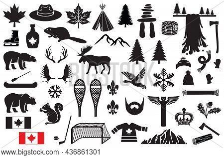 Canada Vector Icons Set (maple Leaf, Hockey, Mountain, Tree, Beaver, Polar Bear, Grizzly, Waterfall,