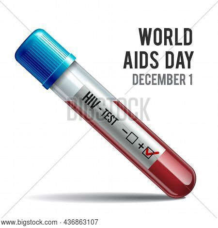 Hiv Test Tube With Blood. Symbol Of World Aids Day.