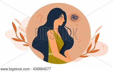 Sad And Depressed Woman. Difficult Life Situation, Headache, Confusion. Internal Problems, Psycholog
