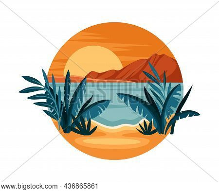 Tropical Landscape With Sunset And Sandy Beach With Flora In Circle Closeup Vector Illustration