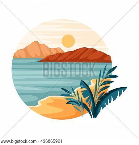 Tropical Landscape With Shining Sun And Sandy Beach With Flora In Circle Closeup Vector Illustration