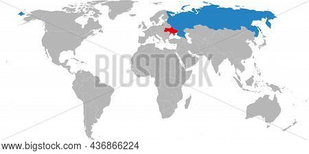 Ukraine, Russia Countries Isolated On World Map. Travel And Geographical Backgrounds.