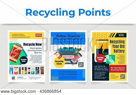 Recycling Old Battery Poster Set Vector Illustration. Utilization, Garbage Disposal Template Design
