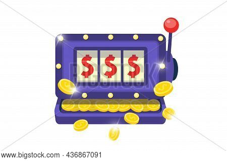Slot Machine Symbol. Online Casino One-armed Bandit Icon On White Background. Jackpot Big Win Concep