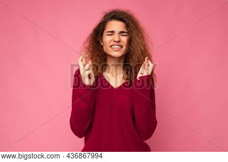Photo Of Young Emotional Attractive Woman With Sincere Emotions Wearing Trendy Clothes Isolated Over
