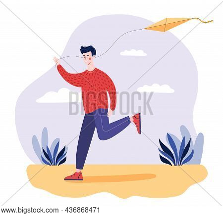 Man With Kite. Boy Playing In Street, Flying Kite. Family Bonding Time Activity. Cheerful Person Run