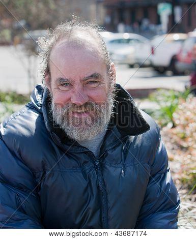 Happy Homeless Man