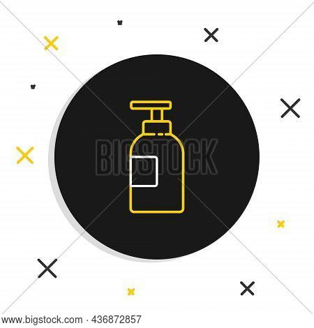 Line Hand Sanitizer Bottle Icon Isolated On White Background. Disinfection Concept. Washing Gel. Alc