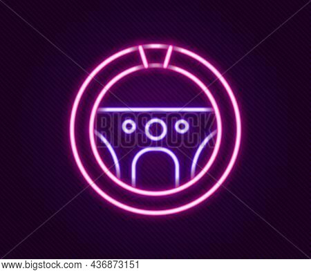 Glowing Neon Line Steering Wheel Icon Isolated On Black Background. Car Wheel Icon. Colorful Outline
