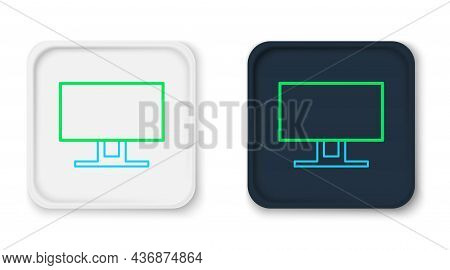 Line Smart Tv Icon Isolated On White Background. Television Sign. Colorful Outline Concept. Vector