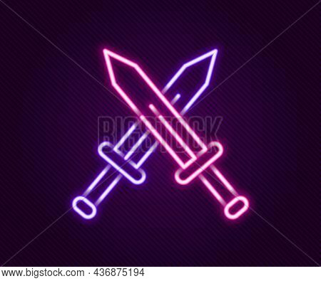 Glowing Neon Line Crossed Medieval Sword Icon Isolated On Black Background. Medieval Weapon. Colorfu