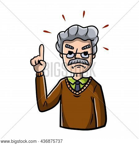 Senior Man Points With His Finger. Negative Emotion Guy. Note And Remark. Cartoon Hand Drawn Sketch