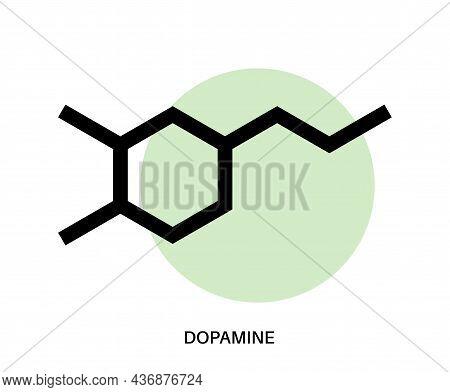 Dopamine Formula Icon Or Logo. Monoamine Neurotransmitter. Motivational Component Of Reward Motivate