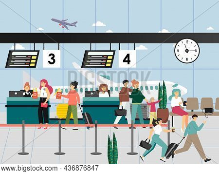 Happy People With Luggage, Travel Documents, Tickets At The Airport Check In Counter, Flat Vector Il